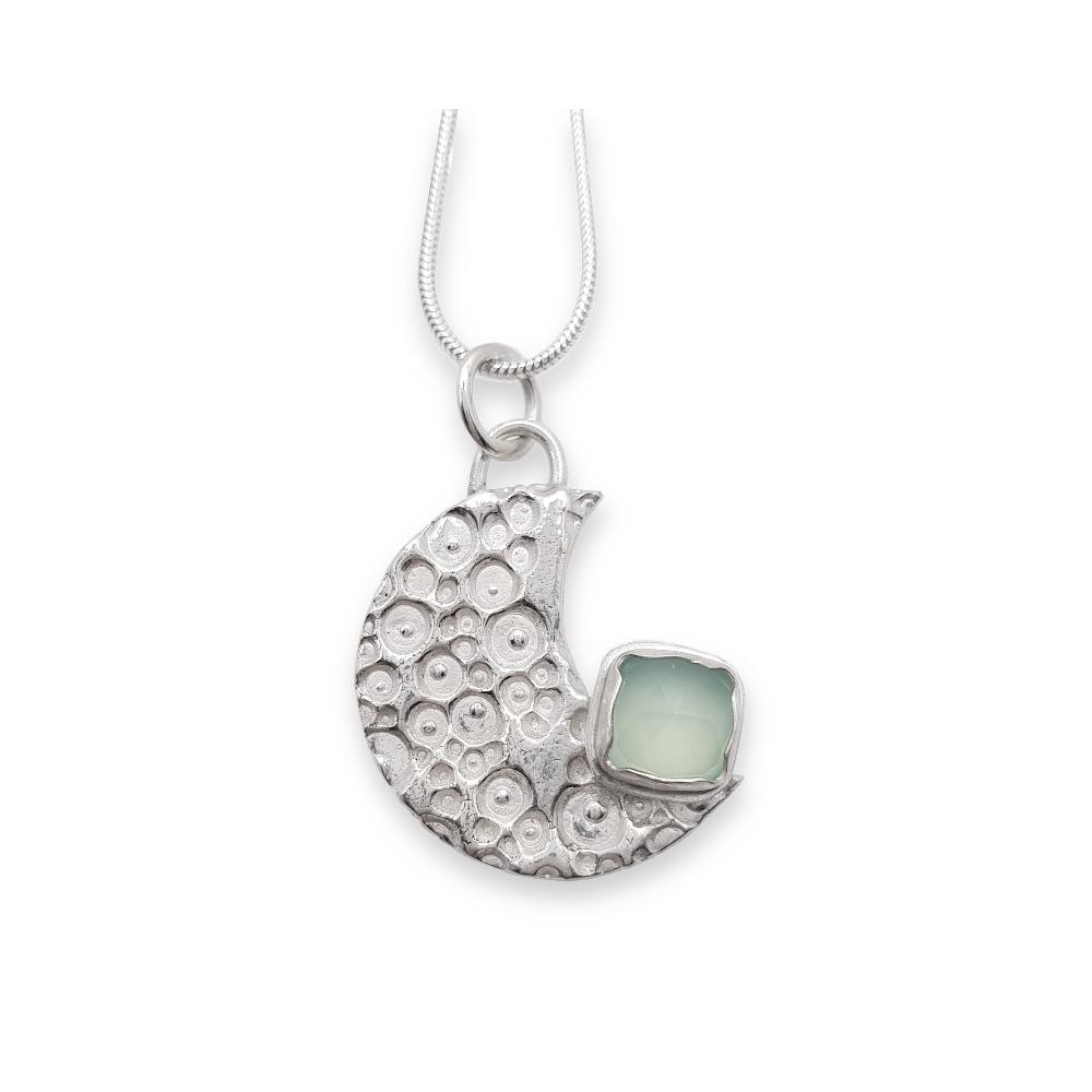 Sterling Silber 925 Mond Edelstein Eckig Aqua Chalzedon Anhänger Kette Handgefertigt Goldschmied Handgearbeitet Cabcochon