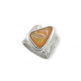 Handmade 925 Sterling Silver Welo Opal Gemstone Freeform Flower Texture