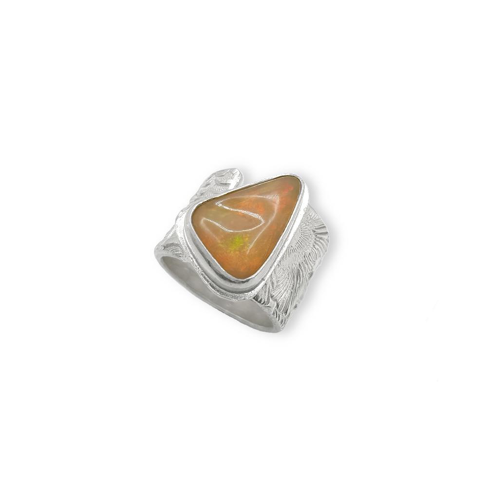 Welo Opal 925 Sterling Silber Ring Edelstein Blumen Struktur Handgefertigt Goldschmiede