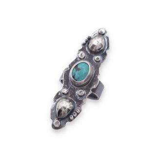 Sterling Silber 925 Oxidiert Grau Edelstein Cabochon Türkis Grün-Blau Statement Ring Handgefertigt Handgearbeitet