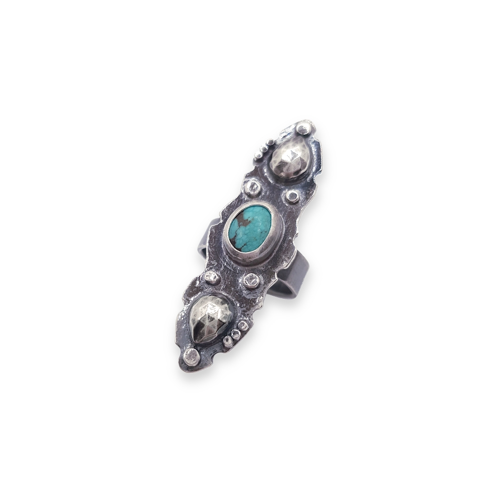 Long 925 Sterling Silver Ring Oxidised Gemstone Cabochon Turquoise Oval Black Green Handmade