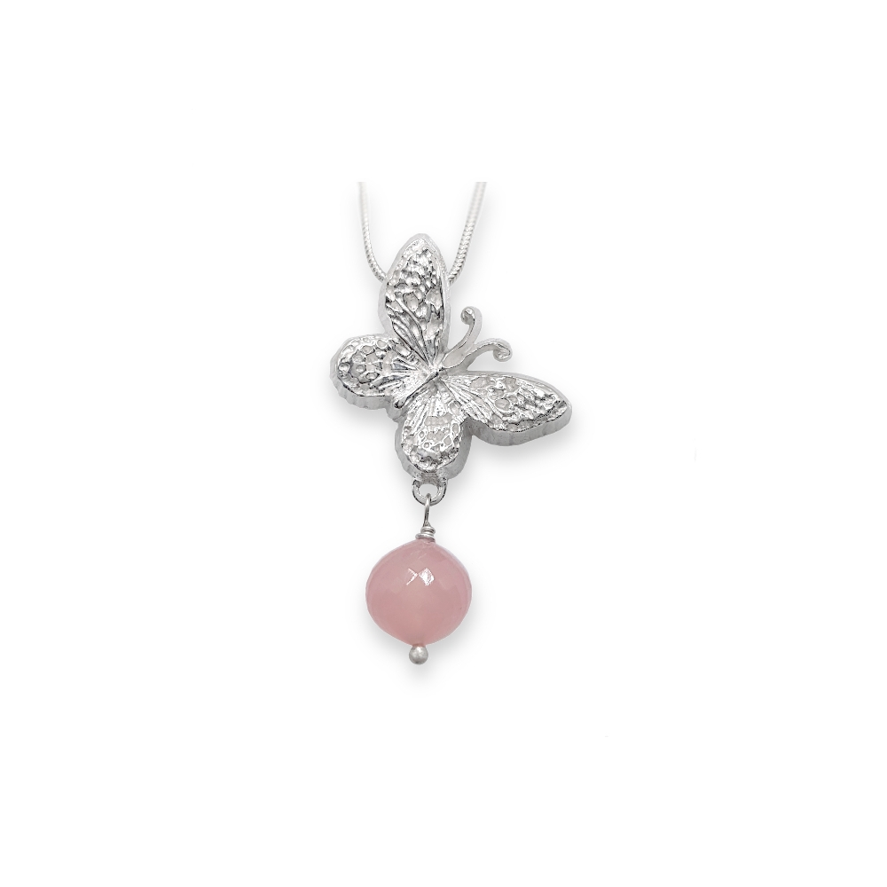 Heavy Butterfly Animal Sterling Silver Fine 925 999 Rose Quartz Gemstone Onion Pendant with Chain Handmade
