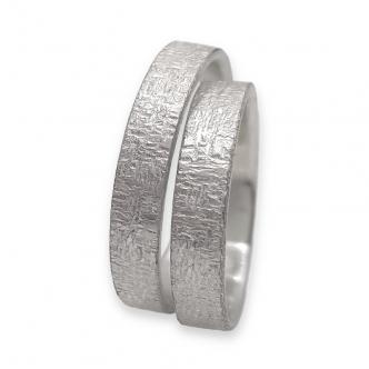 Ring Set, Eheringe, Partnerringe, Argentium® Silber Sterling Ring 935 925 Texture Oberflächenstruktur Handgefertigt Handgemacht