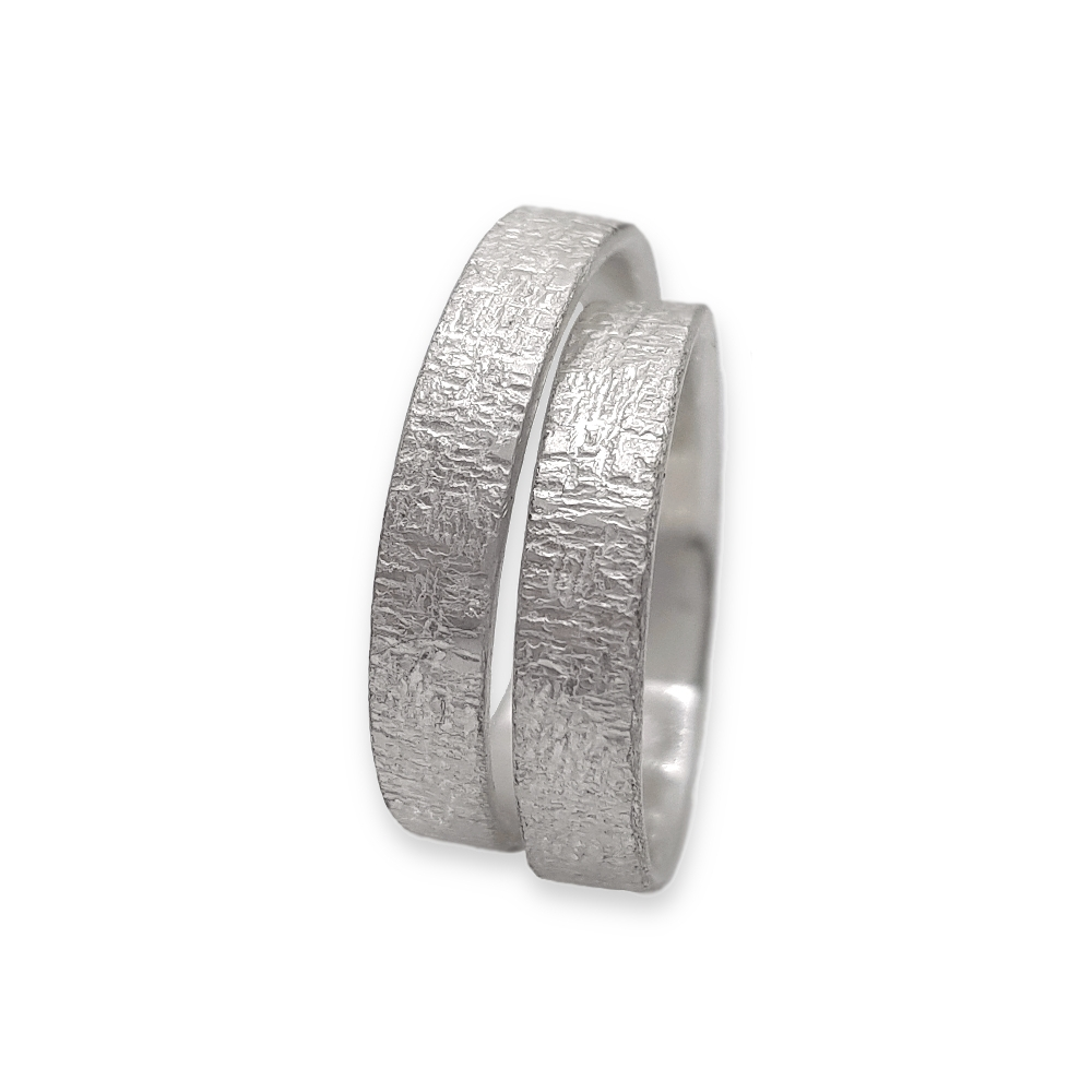 Ring set sterling Argentium® silver 935 925 Handmade Wedding Partner Rings Oxidised Wedding Partner Rings