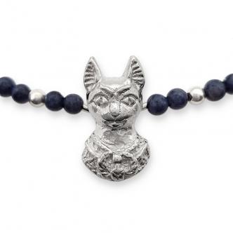 Ägyptische Katze Feinsilber Sterling Silber 999 925 Edelsteine Saphir Safir Blau Kette Anhänger Handgefertigt Goldschmied