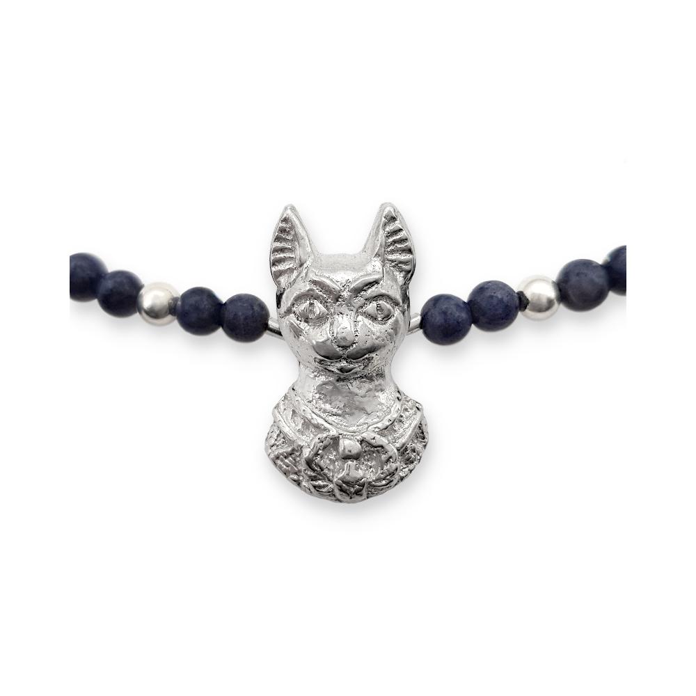 Egyptian Cat Fine Silver 999 925 Sterling Necklace Gemstones Blue Sapphire Handmade