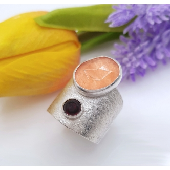 Wide Sterling Silver Ring 925 Gemstones Statement Chalcedony Garnet Handmade