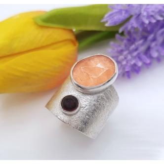 Breiter Sterling Silber Ring mit Edelsteinen Statement 925 Handgefertigt Handgemachter Schmuck Metal Clay