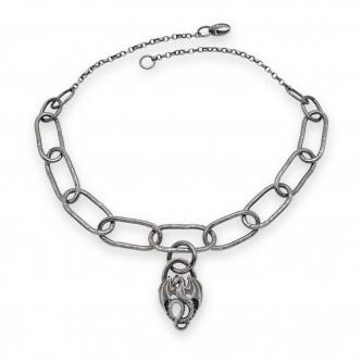 Statement Dragon Sterling Silver Argentium Silver Necklace Men Unisex Handmade Oxidised 925 935