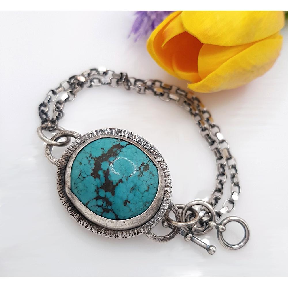 Sterling Silver 925 Bracelet Turquoise Gemstone Cabochon Handmade Statement Big