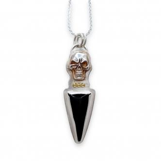 Pendant Necklace Skull 925 Sterling Silver, Agate Black Cabochon, Gold, Handmade