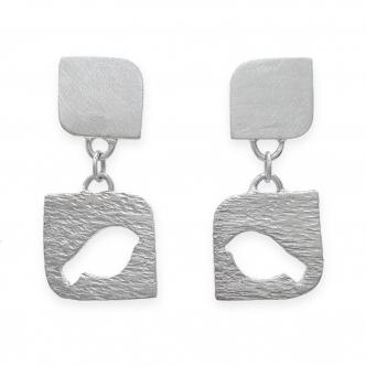 Sterling Silber Ohrringe 925 Ohrhänger Vogel Tier Ohrstecker Handgefertigt Handgearbeitet Handgemacht Metal Clay Gehämmert