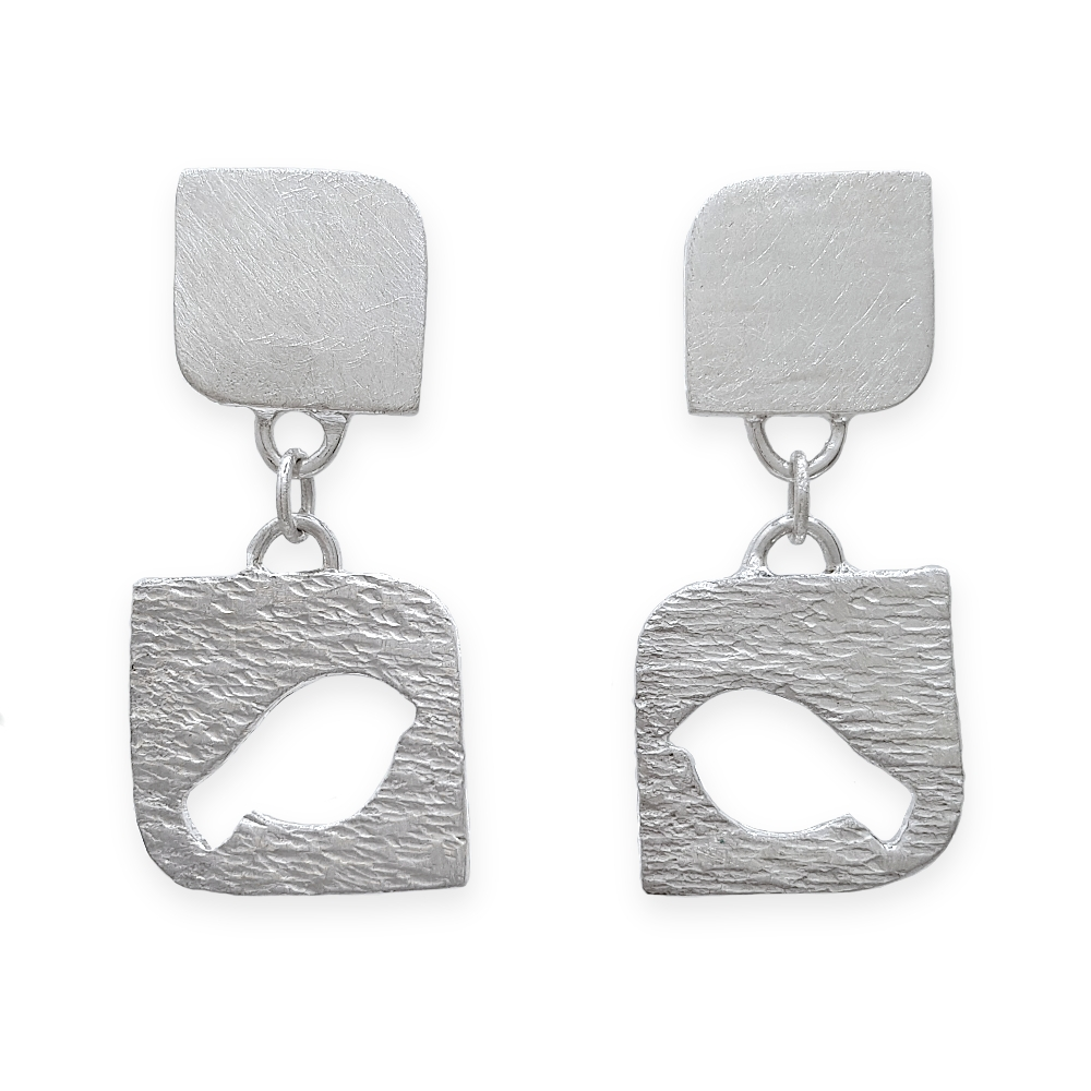 925 Sterling Silver Earrings Studs Bird Dangly Hammered Frosted Handmade Metal Clay