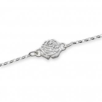 Sterling Silver Rose Bracelet Handmade Solid Metal Clay