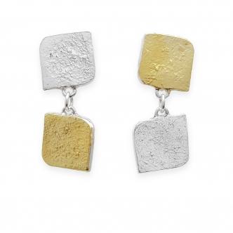 Sterling Silber 925 Gold Gelbgold Keum Boo Viereck Ohrringe Ohrhänger Handgefertigt Handgearbeitet Goldschmied