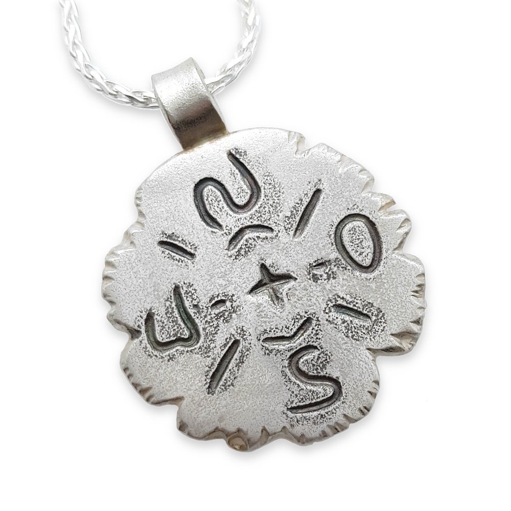 950 925 Sterling Silber Kompass Anhänger Herrenschmuck Männerschmuck Kette Handgearbeitet Handgefertigt Metal Clay