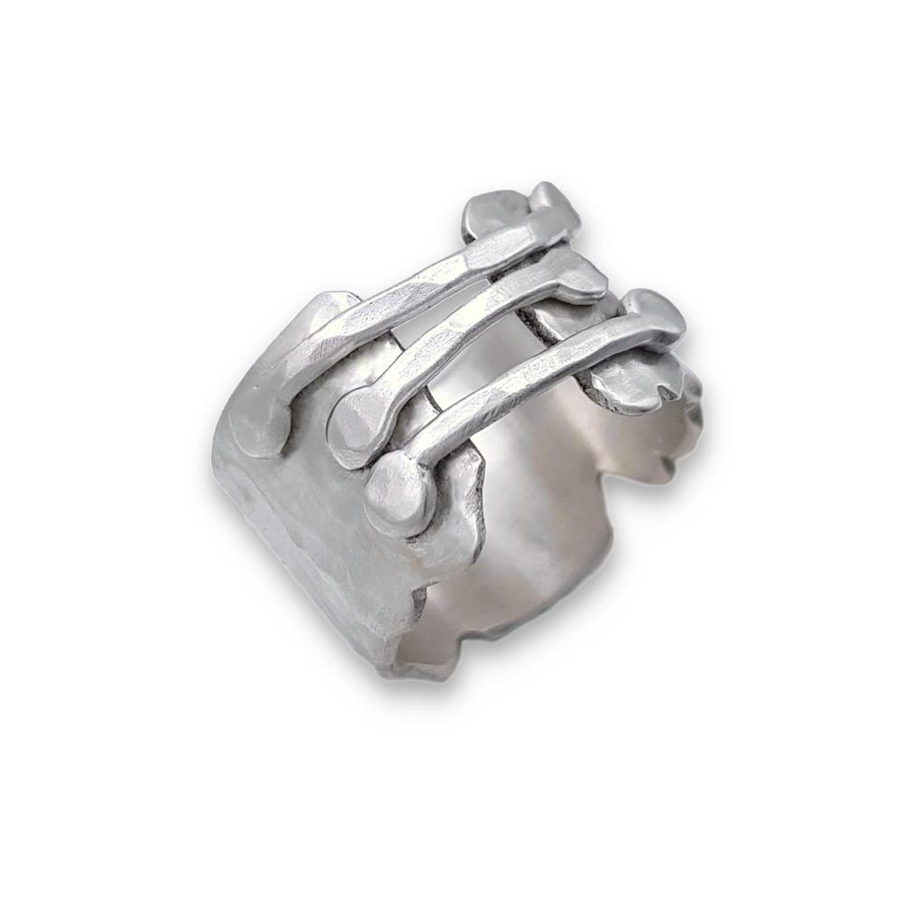 Argentium Silver 935 925 Sterling Silver Ring Hammered Bridge Ring Handmade Wide