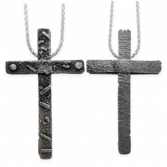 Double Sided Cross Argentium Silver Sterling 935 925 Strong Texture Pendant Necklace Handmade OOAK