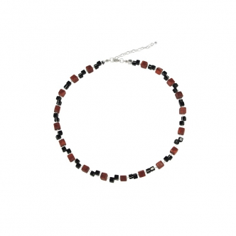Coral and Onyx Cube Necklace