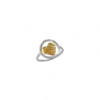 Feinsilber Sterling Silber Herz Ring Handgefertigt Handgemacht Keum Boo Gold Valentinstag