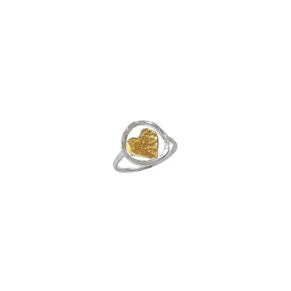 Sterling Silver Fine Heart Ring Gold Keum Boo Handmade Valentines