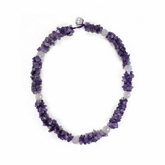 Gemstone Amethyst Crochet Necklace Handmade Rose