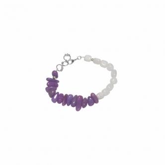 Jade Bracelet Purple and White