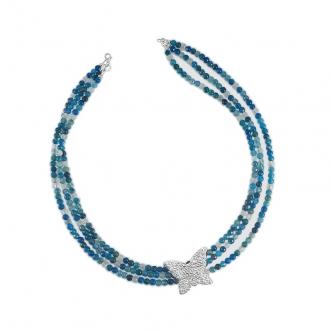 Edelsteine Achat Blau Kette Feinsilber Sterling Silver Schmetterling 999 925 Handgefertigt Handgearbeitet
