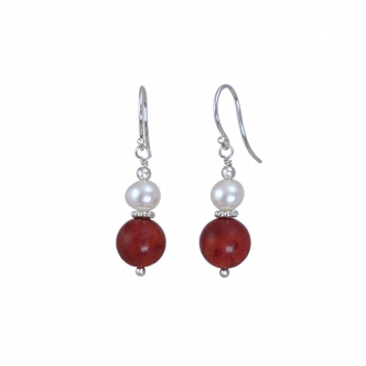 Earrings Coral and Pearls