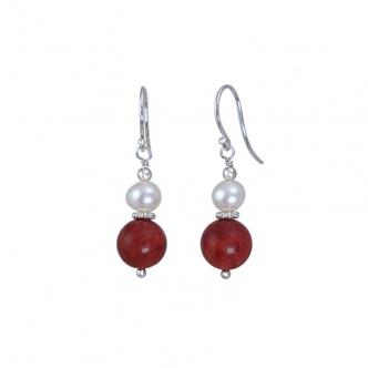 Koralle und Perlen Ohrringe
