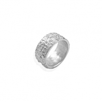 Handmade Wide Silver Ring Fine Sterling Silver Wedding Band Texture 999 925