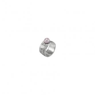 Handgefertigter Silber Ring mit Perle Zuchtperle Sterling 925 Geschmiedet
