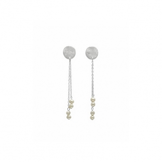 Perls and Silver, Earrings, Handmade
