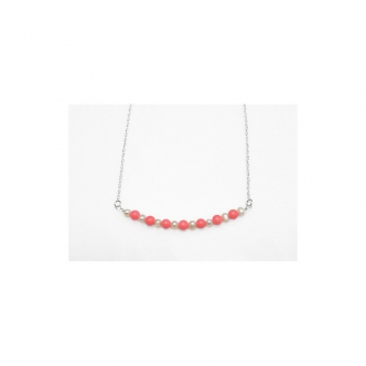 Coral and Pearls Handmade Silver Necklace