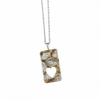 Handmade Silver Pendant Heart Ginkgo Leaf Necklace