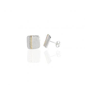 Handmade Silver and Gold Earrings Earstuds 950 Metal Clay