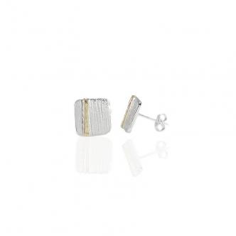 Handgefertigt Ohrring Ohrstecker Silber und Gold Metal Clay