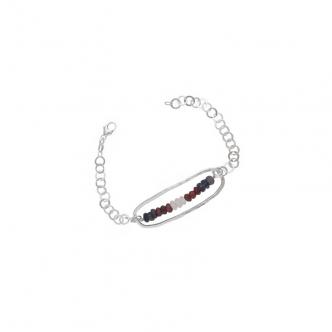 Handgefertigt Armband Silber und Edelsteine