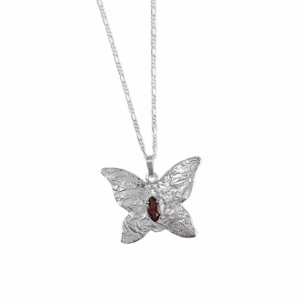 Handmade Silver Butterfly Pendant with Gemstone Necklace