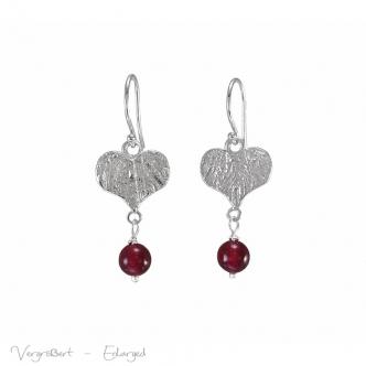 Handgemacht Echt Silber Herzen Herzchen Ohrringe Handgefertigt Edelsteine Rot