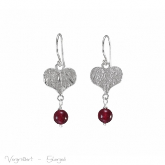 Handmade Sterling Silver Heart Earrings Gemstones Jade Red