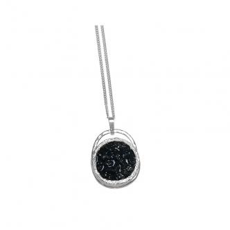 Schwarze Rohdiamanten Echt Silber Handgefertigt Anhänger mit Kette