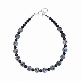 Spider Agate Gemstone Necklace Big Handmade