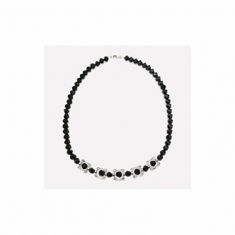 Fashion Jewellery Black Glass Beads Necklace Handmade