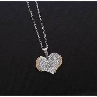 Massives Silber Herz Feinsilber Sterling Gold Handarbeit Handgefertigt Anhänger Kette