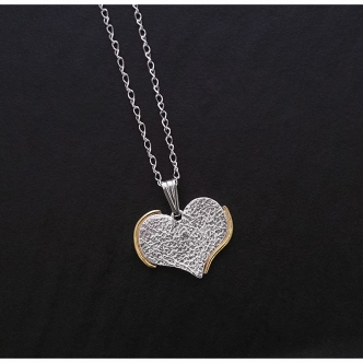 Solid Heart Fine Silver Sterling Silver Gold Handmade Pendant Necklace