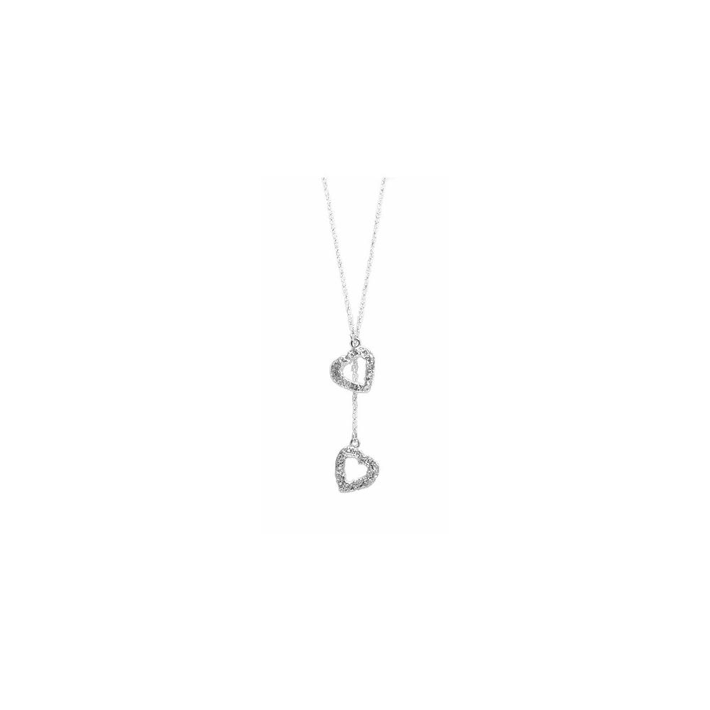 Y Necklace Hearts Silver Sterling Fine Handmade