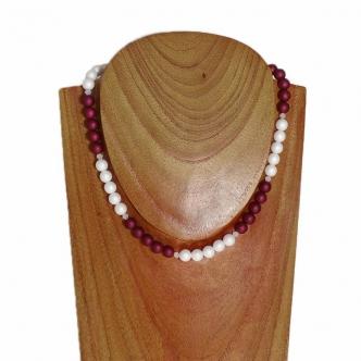 Rot Weiß Glasperlen Kette Modeschmuck