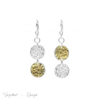 Fine Sterling Silver Gold Keum Boo Earrings Handmade Metal Clay