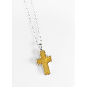 Sterling 950 Silber Kreuz Kunstharz Goldfarben Kette Anhänger Handgefertigt Handgearbeitet